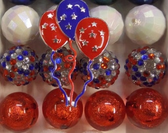 4th of July Inspired necklace Kit, 18CT, 20mm+ Beads, N22