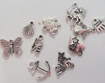 10CT Silver Toned Variety Package of Charms, Y31K
