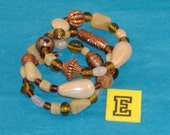SPECIAL SALE - Chunky Sand, Cream and Amber Beads, Copper Fluted & Scribed Spacers on Spring Wire Bracelet - Fits Any Wrist - E