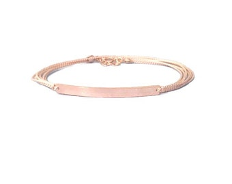 hand stamped modern silk bar wrap bracelet in rose gold filled. dainty personalized layering jewelry.