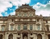Louvre Museum Photo, Paris Photography, Architecture Print, Beige Home Decor, Robins Egg Blue, Paris Print, Old Building Photo, French Decor
