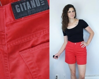 1980s 1990s Vintage Solid Red Jean Shorts by GITANO / Bright Crimson Scarlet High Waist Waisted Denim Jorts Bottoms Pants / Medium M 8 9 10