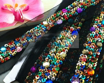 1 yard 2.5-6cm wide colorful sequins beads tapes braid lace trim ribbon iok6 free ship