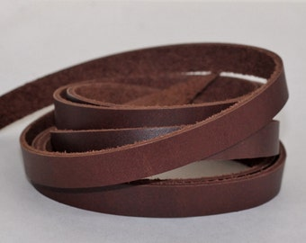 10 mm  Brown   Flat cord ,Solid Genuine Leather Strap, Cowhide