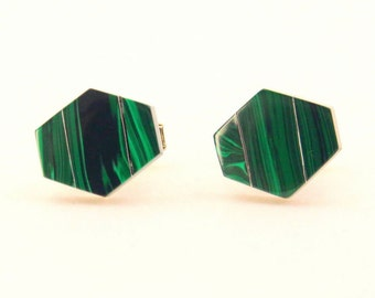 Vintage Sterling Silver Malachite Inlay Cufflinks 1980s
