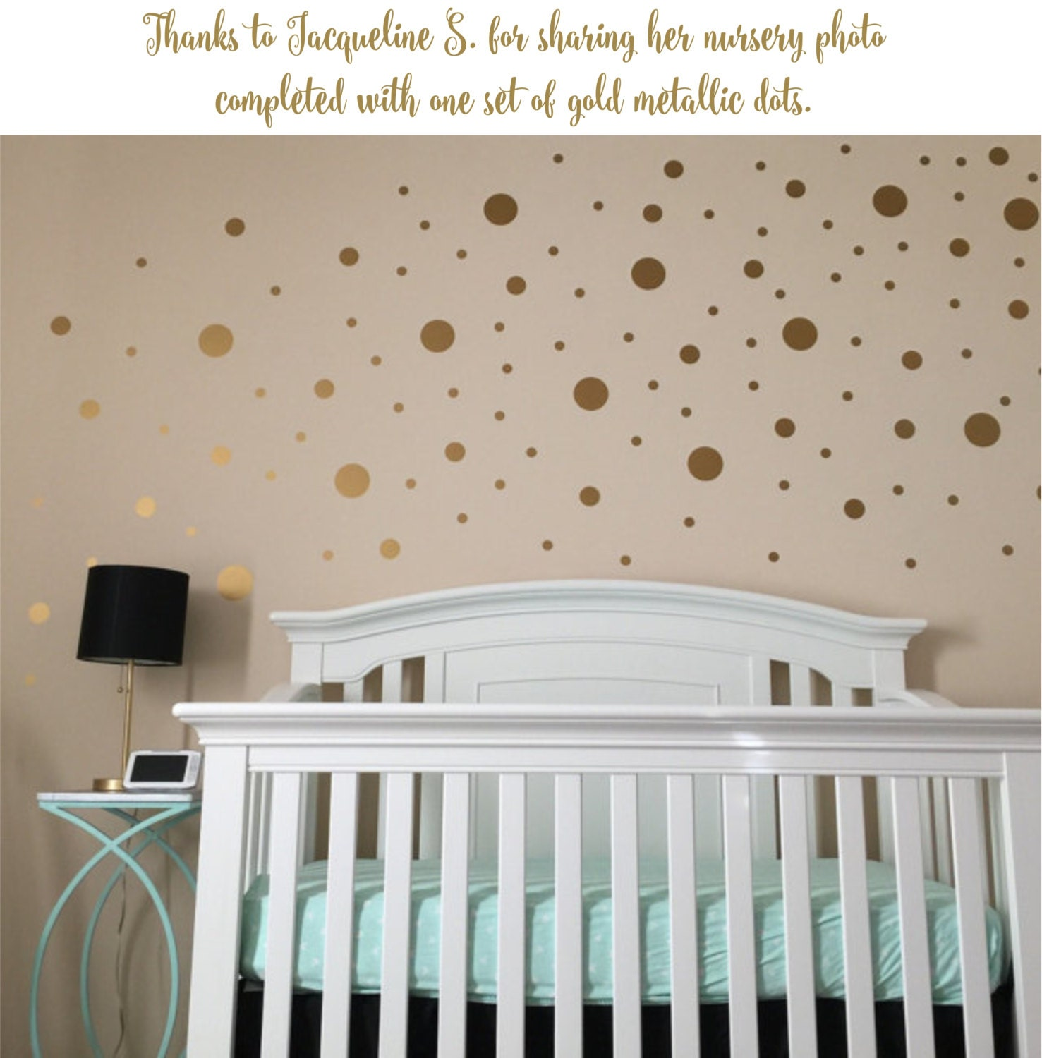 Gold Dot Decals Polka Dot Wall Decal Gold Vinyl Dots Gold - Nursery polka dot wall decals