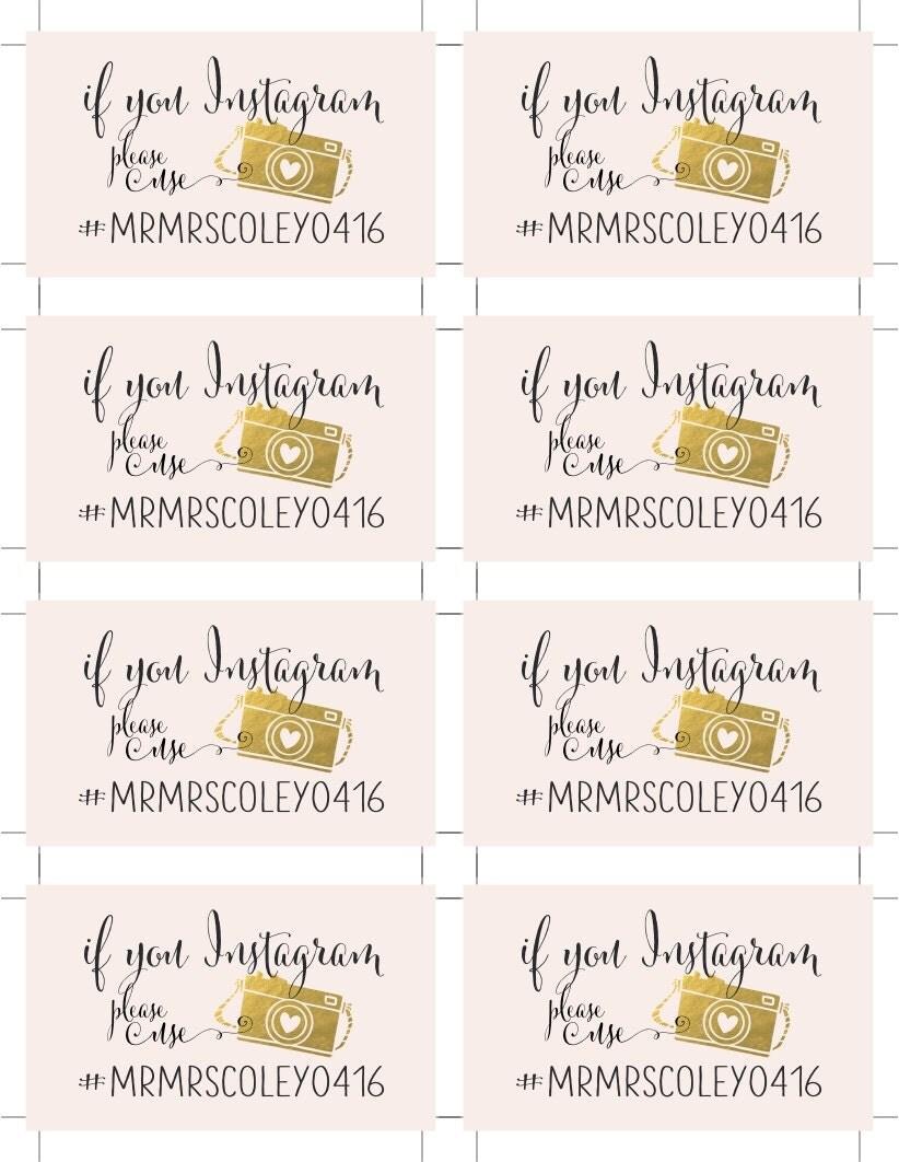 Instagram Hashtag Share Cards | Personalized Wedding Hashtag ...