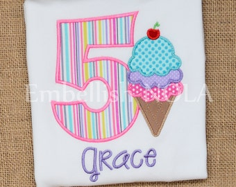 Ice Cream Applique Birthday Shirt or Bodysuit Triple Scoop Ice Cream Ice Cream Theme Party