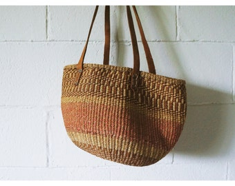 Vintage Sisal Market Tote | Woven Bag | Leather Straps