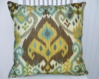 Brown Gold Ikat Pillow Cover, 18x18, 20x20 or 22x22, Decorative Cotton Throw Pillow Cover,  Accent Pillow Cover, Lumbar Pillow Cover