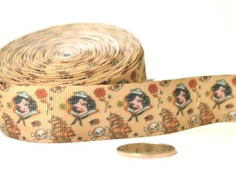 "Old School Tattoo - 7/8"" grosgrain ribbon - by the yard"