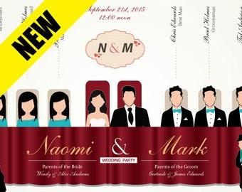 Custom Wedding Program - Silhouette Wedding Program - wedding ceremony program - wedding table
