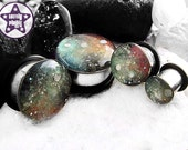 "Space is Deep Red Green Nebula / Galaxy Plug / Gauge ONE Plug Only 0g, 00g, 7/16"" / 8mm, 10mm, 11mm"