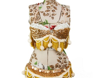 1950s Showgirl Burlesque Costume // Two Piece Bikini Set with Gold Sequins and Pom Pom Trim