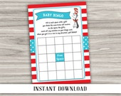 INSTANT DOWNLOAD - Baby Bingo - Dr. Seuss Cat in the Hat - Baby Shower Game - Printable Digital File