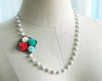 Teal Red Wedding Necklace Bridal White Pearl Necklace Elegant Jewelry Mother of Bride Gift Bridesmaids Jewellery Mother of Groom Necklace