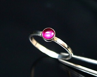 Ruby Ring Ruby Sterling Silver Ring 5mm Ruby Ring Silver Ruby Ring  Pink Ruby Gemstone Ring