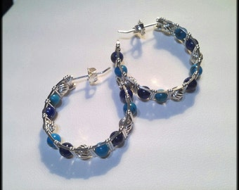 Wire Wrapped Earrings Silver Wire Wrap Beaded Hoop Earrings Silver Turquoise Lapis Earrings