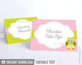Owl Food Labels - Place Cards - Owl Baby Shower - Pink Green - INSTANT DOWNLOAD - Printable PDF with Editable Text