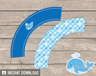 Whale Cupcake Wrappers - Whale Baby Shower - Boy Blue - Whale Party - INSTANT DOWNLOAD - Printable PDF