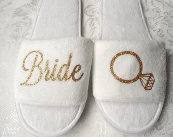 Bride Spa Slipper decorated with Gold glitter Bride and Diamond Ring Open toe White Terry shoe Bridal Gift Honeymoon shoes Wedding slippers