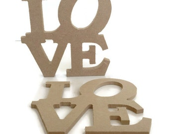 MDF Wooden Shape 'Love' 6mm or 15mm Thick