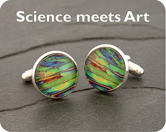Graduation gift - Chemistry Cufflinks - Science cuff links - Chemical crystals (imidazole) by polarised light microscopy-gift for pharmacist