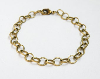 "2 Cable 7.75"" antique bronze chain charm bracelet with lobster claw clasp 8x6mm links DB14246"