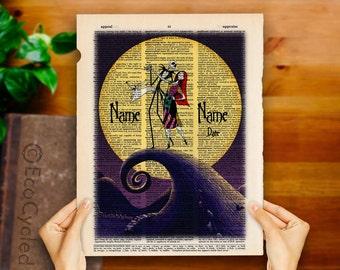 Nightmare Before Christmas 9 with Names & Date Jack Sally on Vintage Upcycled Dictionary Art Print Book Art Print Anniversary Wedding Custom