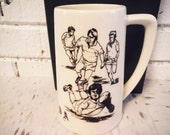 Vintage USA rugby stein beer mug white and black retro sports bar