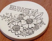 cup holder coaster, wine glass coaster - hand stamped bisque tile, absorbent -- floral