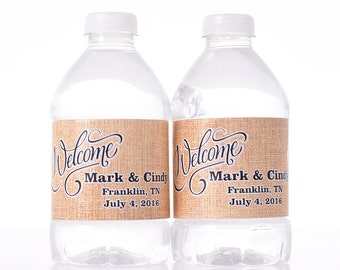 """Burlap Wedding Decor - 30 Wedding Water Bottle Labels - Need a different quantity? Click on the """"choose total"""" tab to see all pricing"""