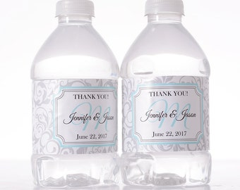 """Personalized Wedding Decor - 30 Wedding Water Bottle Labels - Need a different quantity? Click on the """"choose total"""" tab to see all pricing"""