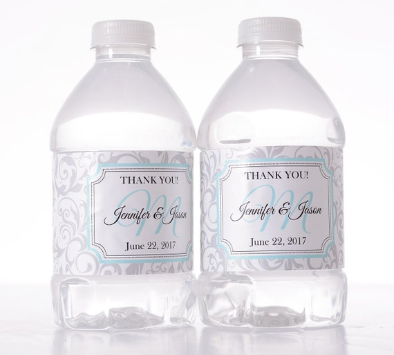 "Personalized Wedding Decor - 30 Wedding Water Bottle Labels - Need a different quantity? Click on the ""choose total"" tab to see all pricing"