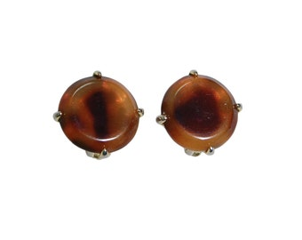 Faux Tortoise Clip Earrings, Button Style, Round, Clip On