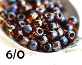 TOHO Seed beads, size 6/0, Transparent Lt. Topaz Picasso, Y313, seed beads, hybrid, rocailles - 6g - S763