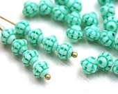 30pc Mint bicone beads, Turquoise green fancy bicones, Czech Glass pressed - 6mm - 2680