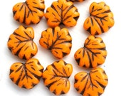 10pc Orange Maple Leaf beads, Brown Inlays, Czech glass leaves, pressed beads - 11x13mm - 2364