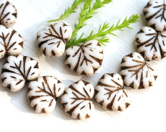 10pc Fancy Leaf beads, White Maple glass leaves, Brown Inlays - 11x13mm - 0981