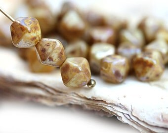 Picasso bicone beads, Goldish Beige Brown, Czech Glass beads, luster, pressed glass bicones - 6mm - 30Pc - 0576