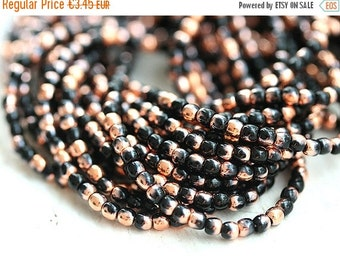 30%OFF SALE 2mm spacer beads - Copper and Jet Black, czech glass, round, tiny spacers, druk - 150pc - 0096