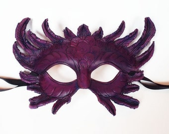 Purple Feather Leather Mask