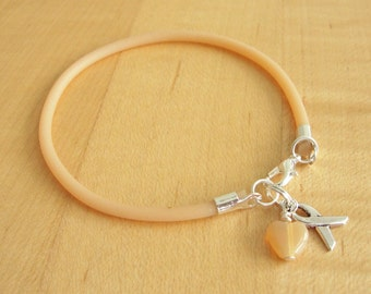 Peach Awareness  Bracelet (Rubber) - Uterine Cancer, Endometrial Cancer