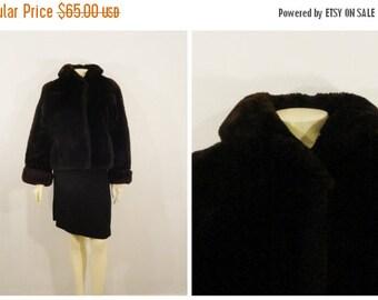 CLOTHING SALE Vintage Coat Mouton Fur Coat Dark Brown Rust Lining Modern Medium to Large
