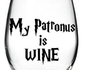 My Patronus is WINE 21 oz Stemless Wine Glass