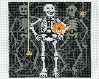 Hand painted Needlepoint  Skeleton Roll Up Halloween Canvas