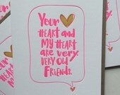 Best Friend Card / Love Card / Your Heart and My Heart Are Very, Very Old Friends. Hafiz quote. Letterpress Quote Card / DeLuce Design