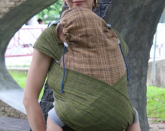 BaBy SaBye Wrap Mei Tai sling hand-woven two-side with a hood TODDLER size model71 Green/BeigeBrown