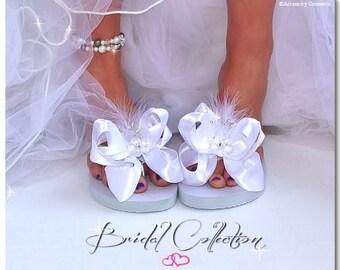 Accessory Connectz® Bridal Wedding flip flops bride bridal white interchangeable accessories beach flip flop bows flip flop clips