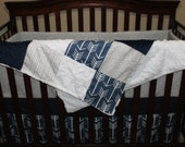 Baby Boy Crib Bedding - Navy Arrows, Gray Weathervane, Navy, and Gray Birch Trees Crib Bedding Ensemble with Blanket or Patchwork Blanket